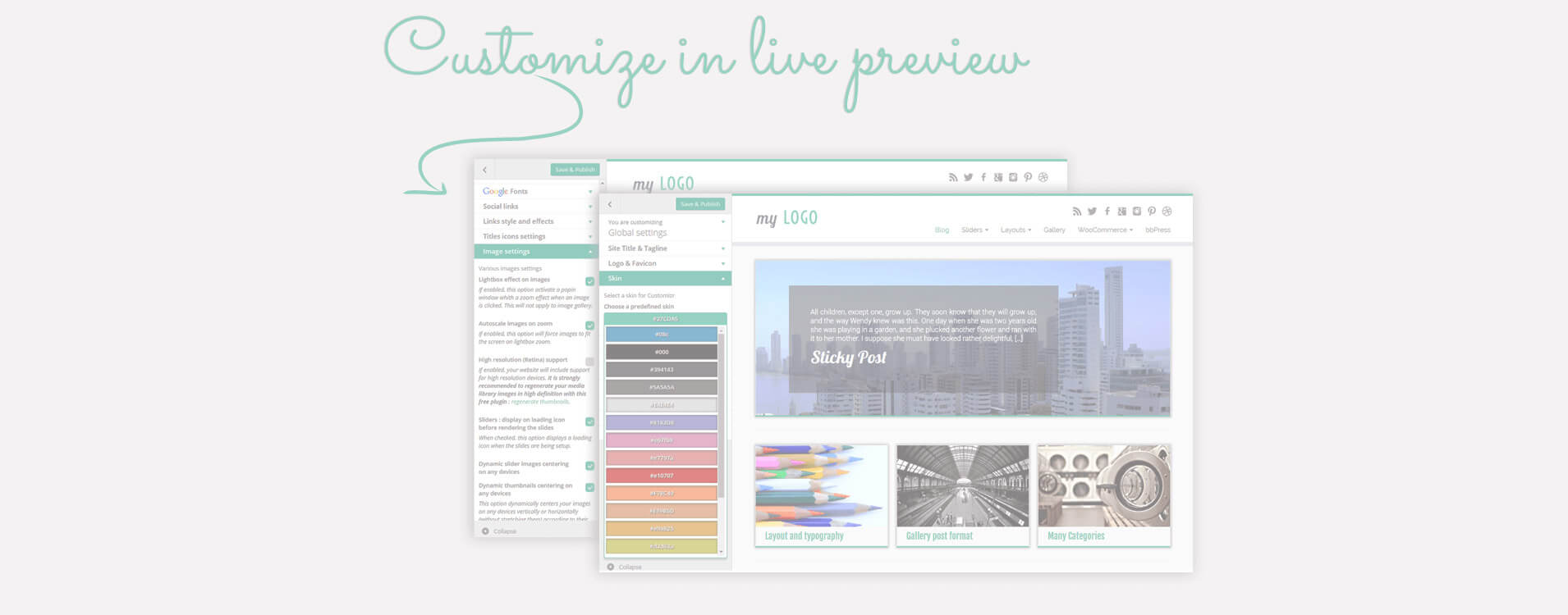 Viele Layout- und Design-Optionen stehen über den WordPress-Customizer zur Verfügung: Sieh deine Änderungen in Echtzeit!